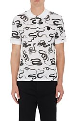 Alexander Mcqueen Men's Snake Print Cotton Polo Shirt White