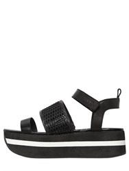 Dkny 50Mm Valene Mesh And Leather Wedge Sandals