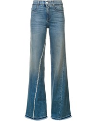 Stella Mccartney Flared Fringe Jeans Blue