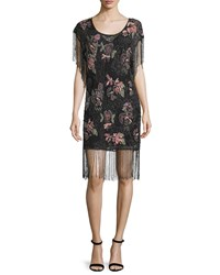 Haute Hippie Floral Embellished Flapper Dress Black Black Black