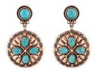 Mandf Western Drop Rose Concho Earrings Brown Turquoise Earring