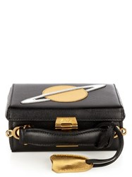 Mark Cross Grace Mini Saffiano Leather Box Bag Black Gold