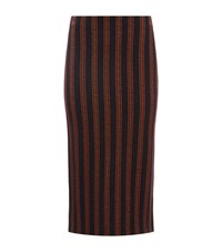 Pinko Jacquard Stripe Midi Skirt Female Burgundy