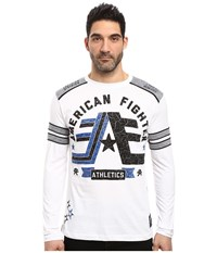 American Fighter Stony Brook Pattern Long Sleeve Panel Crew White Grey Reflective Men's Clothing