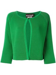 Boutique Moschino Single Button Cropped Cardigan Green