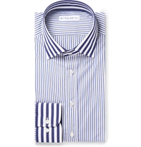 Etro Navy Striped Cotton Shirt Blue