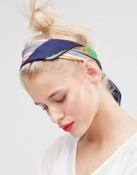 Johnny Loves Rosie Lucille Printed Head Scarf Navy Cream