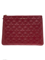 Comme Des Garcons Wallet Floral Embossed Zip Wallet Red