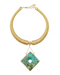 Devon Leigh Gold Dipped Mesh Collar Necklace W African Turquoise Pendant Women's