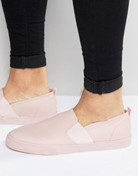 Asos Slip On Plimsolls In Pink With Elastic Pink
