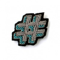 Macon Et Lesquoy Embroidered Hashtag Brooch