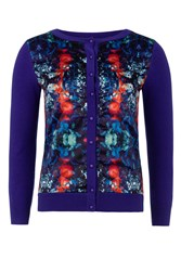 Wolf And Whistle Mirror Floral Print Cardigan Blue
