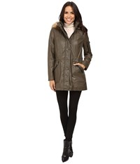 Calvin Klein Waxy Rain Anorak With Detachable Faux Fur Hood Olive Women's Coat