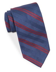 Brooks Brothers Silk Diagonal Striped Herringbone Tie Blue