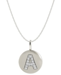 Macy's 14K White Gold Necklace Diamond Accent Letter A Disk Pendant