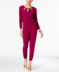 Thalia Sodi Cutout Hardware Jumpsuit Only At Macy's Violet Berry