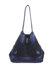 Linea Pelle Preston Perforated Leather Tote Blue