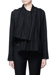 Ms Min Asymmetric Stripe Panelled Wrap Jacket Black