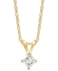 Macy's Princess Cut Diamond Pendant Necklace In 10K Gold 1 6 Ct. T.W.