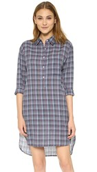 Sundry Tartan Plaid Shirtdress Blue