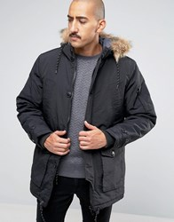 Threadbare 4 Pocket Parka Jacket With Faux Fur Trim Hood Black