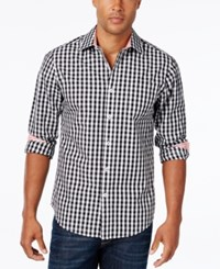 Weatherproof Men's Gingham Long Sleeve Shirt Contrast Cuffs Black