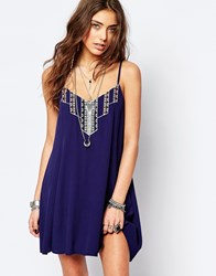 Kiss The Sky Festival Dress With Embroidery And Lace Up Back Navy