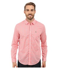 Lacoste Cotton Voile Check Print Shirt White Sandalwood Men's Clothing Pink