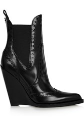 Alexander Wang Nadja Perforated Patent Leather Wedge Ankle Boots Black