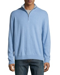Neiman Marcus Zip Front Cashmere Pullover Sweater Light Blue