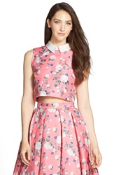 Erin Fetherston 'Josephine' Floral Print Sleeveless Crop Top Poppy Pink