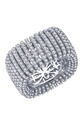 Micro Pave Simulated Diamond Square Wide Band No Color
