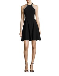 Xscape Evenings Illusion Panelled Fit And Flare Dress Black Nude Silver