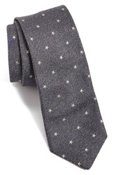 Star Print Silk Tie Online Only Charcoal