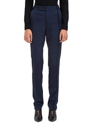 Yang Li Slim Leg Serge Stitched Tailored Pants Navy