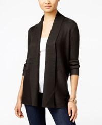 Jm Collection Ribbed Open Front Cardigan Only At Macy's Espresso Roast