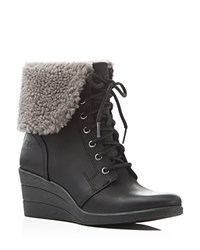 Ugg Zea Faux Shearling Cuff Wedge Booties Compare At 175 Black