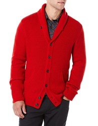 Perry Ellis Button Front Knit Cardigan Light Red