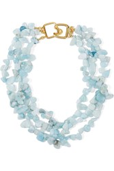 Kenneth Jay Lane Gold Plated Beaded Necklace Sky Blue