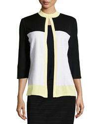 Ming Wang Colorblock Textured Stripe 3 4 Sleeve Jacket White Black Yellow
