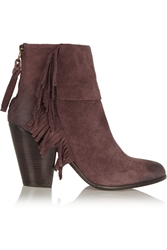 Ash Quick Fringed Suede Ankle Boots Grape