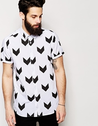 Asos Shirt In Short Sleeve With Chevron Print White