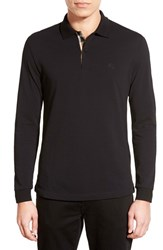 Men's Burberry Brit 'Oxford' Long Sleeve Polo Black