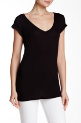 Sweet Romeo Short Sleeve V Neck Tee Black