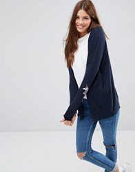 Asos Swing Cardigan With Unicorn Elbow Patch Navy