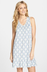 Lauren Ralph Lauren Tank Short Nightgown Liddel Plaid Floral Blue