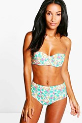 Boohoo Tropical Flower High Waist Bikini Multi