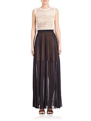 Abs By Allen Schwartz Lace Bodice Pleated Gown Black