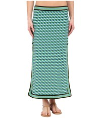 Michael Kors Mini Deco Cube High Slit Skirt Cover Up Turquoise Multi Women's Swimwear