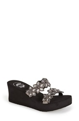 Yellow Box 'Aruna' Crystal Embellished Double Band Wedge Sandal Women Smoke Leather
